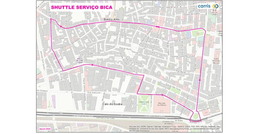 percurso shuttle Bica 1 setembro